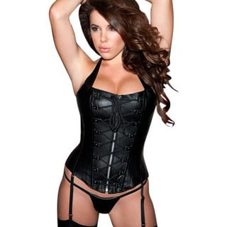 Allure Women's Black Leather Lace-front Corset and G-string Set