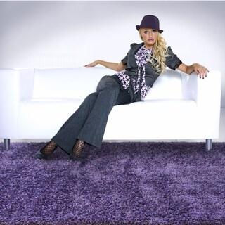 Modern Shag Purple/ Purple Area Rug (6'7 x 9'6)