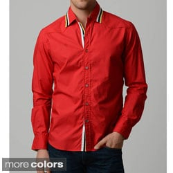 V.I.P. Collection Men's 100 Percent Cotton Slim-Fit Long Sleeve Button Down Shirt