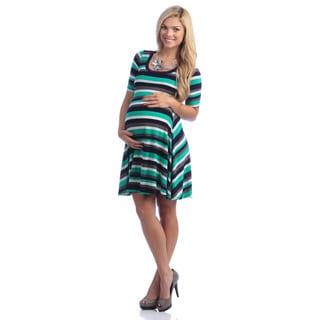 24/7 Comfort Apparel Women's Maternity Multi-Striped Knee-length Dress
