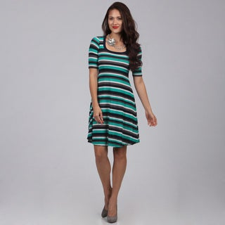 24/7 Comfort Apparel Women's Striped Knee-length Dress