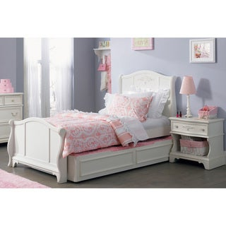 Arielle Antique White Youth Full Sleighbed, Twin Trundle, Nightstand Set