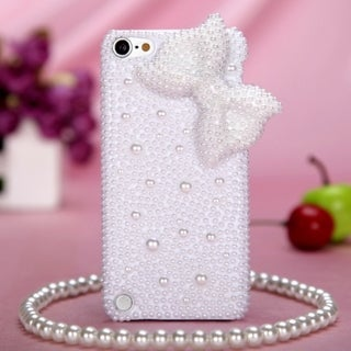 Insten White 3D Bow Hard Snap-on Rhinestone Bling Case Cover For Apple iPod Touch 5th/ 6th Gen