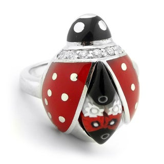Plutus Sterling Silver Red and Black Millefiori Glass Ladybug Ring