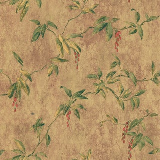 Brewster Brown Berry Vine Wallpaper