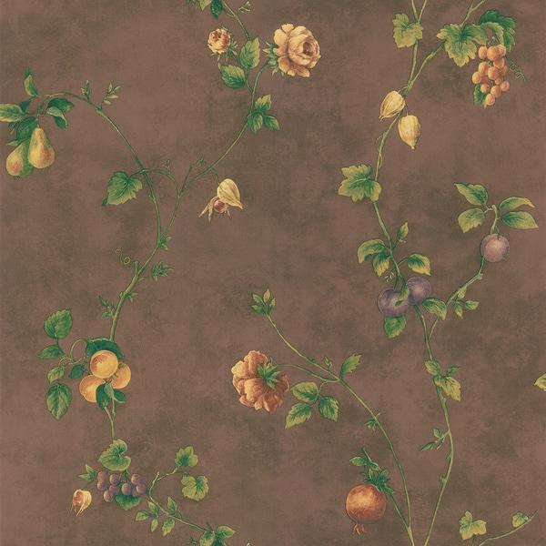 Brewster Dark Brown Fruit Floral Trail Wallpaper