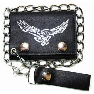 Men's Silver Soaring Eagle Tri-fold Chain Wallet