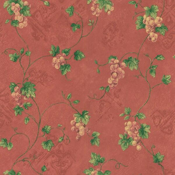 Brewster Burgundy Grape Trail Wallpaper