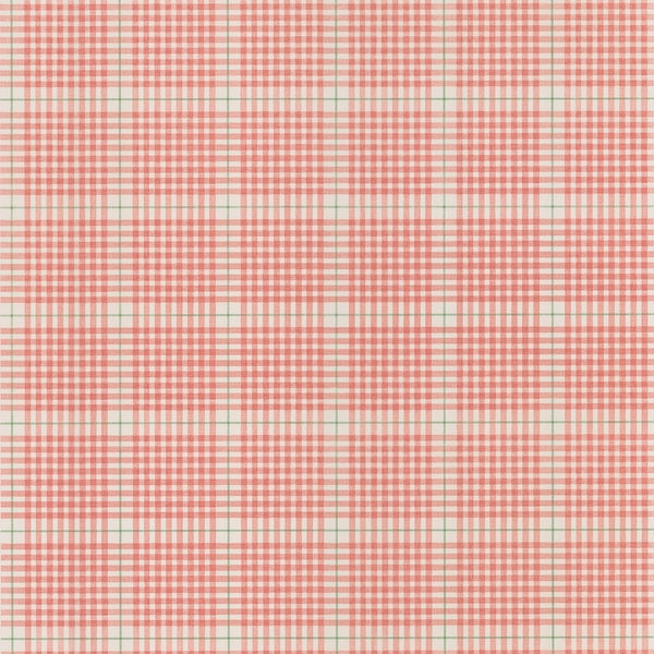 Brewster Salmon Plaid Wallpaper