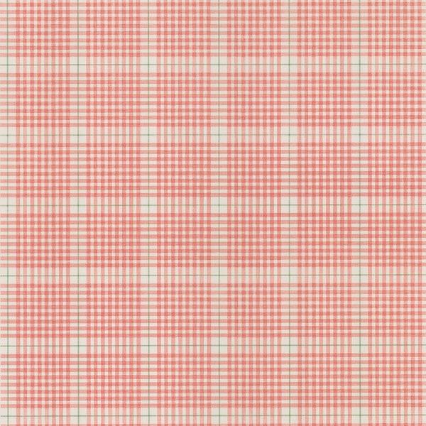 Brewster Salmon Plaid Wallpaper