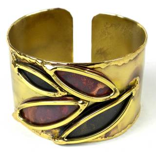 Handcrafted Leaves of Change Brass and Copper Cuff (South Africa)
