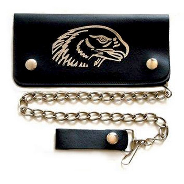 Men's Silver Eagle Head Bi-fold Chain Wallet