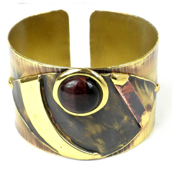 Handcrafted Red Tiger Eye Reflections Copper and Brass Cuff (South Africa)