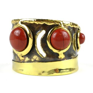 Handcrafted Earth's Core Red Jasper Brass Cuff (South Africa)