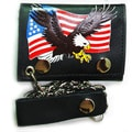 Hollywood Tag Men's American Eagle Tri-fold Chain Wallet
