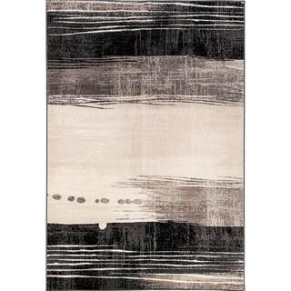 Eternity Waves Silver Black Rug (3'11 x 5'7)