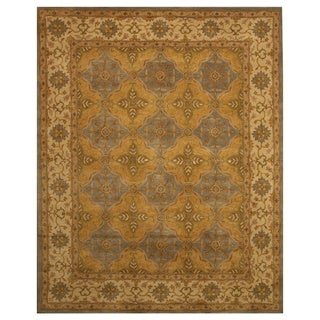 Hand-tufted Panel Agra Gold Wool Rug (5' x 8')