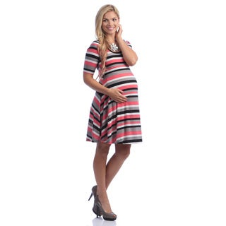 24/7 Comfort Apparel Women's Maternity Elbow-Sleeve Dress