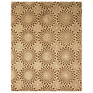 Hand-tufted Modern Animal Skin Brown Wool Rug (7'9 x 9'9)