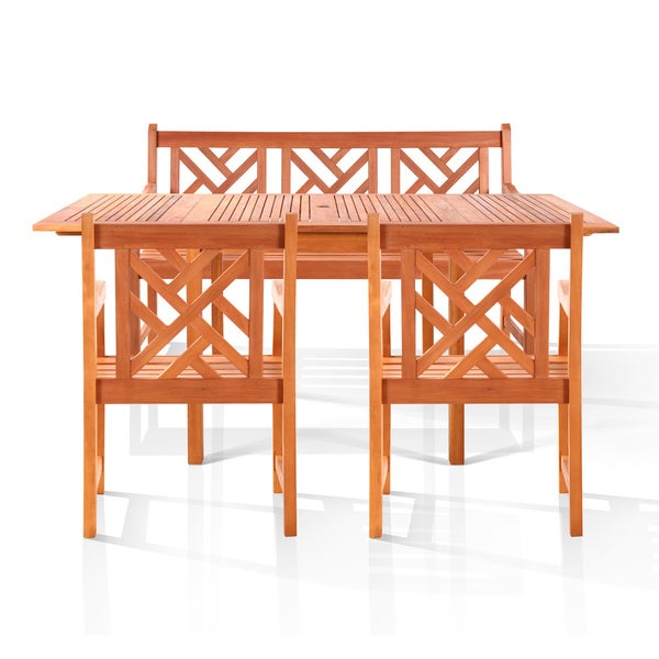 Malibu 4-piece Bench-seater Outdoor Dining Set