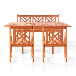 Malibu 4-piece Outdoor Wood Dining Set with 5-foot Bench and Arm Chairs
