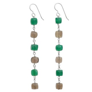 Ashanti Sterling Silver Green Chalcedony and Smokey Quartz Earrings (Sri Lanka)