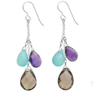 Ashanti Sterling Silver Multi-gemstone Earrings (Sri Lanka)