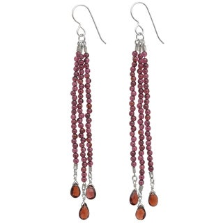 Ashanti Sterling Silver Garnet Gemstone Earrings (Sri Lanka)