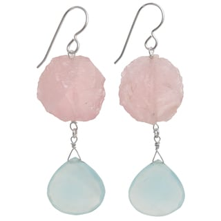 Ashanti Sterling Silver Aqua Chalcedony and Rose Quartz Earrings (Sri Lanka)
