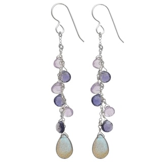 Ashanti Sterling Silver Grey and Blue Gemstone Dangle Earrings (Sri Lanka)
