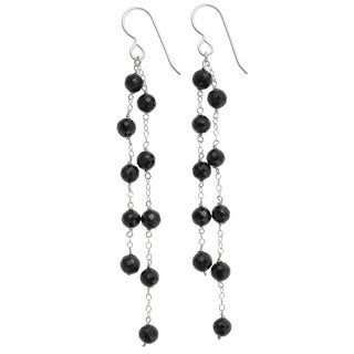 Ashanti Sterling Silver Natural Black Spinel Earrings (Sri Lanka)