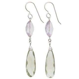 Ashanti Sterling Silver Pink and Green Gemstone Earrings (Sri Lanka)