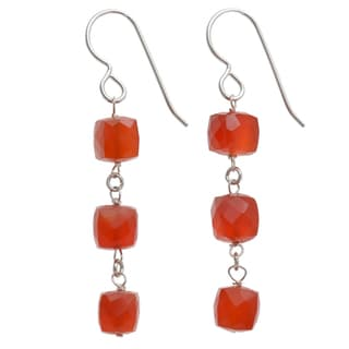 Ashanti Sterling Silver Carnelian Earrings (Sri Lanka)