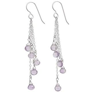 Ashanti Sterling Silver Cascading Pink Amethyst Briolette Earrings (Sri Lanka)