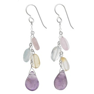 Ashanti Sterling Silver Multi Gemstone Dangle Earrings (Sri Lanka)
