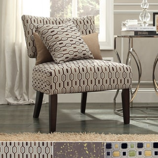 Inspire Q Kayla Chain-link Style Fabric/ Espresso Finish Accent Chair