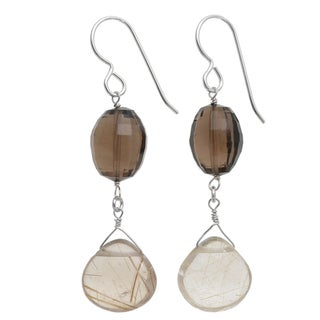 Ashanti Sterling Silver Golden Rutile Quartz Briolette Smokey Quartz Earrings (Sri Lanka)