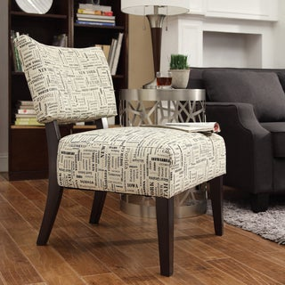 Kayla Herringbone Fabric Espresso Finish Accent Chair