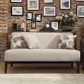 Inspire Q Kayla Grey Fabric Espresso Finish Armless Mini Sofa
