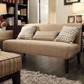 Kayla Carmel Chenille Espresso Finish Armless Mini Sofa
