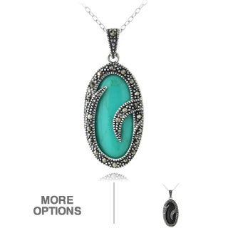 Glitzy Rocks Sterling Silver Turquoise Or Onyx Marcasite Oval Necklace