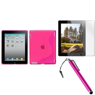 BasAcc Pink Case/ Stylus/ Screen Protector for Apple iPad 2/ 3/ 4