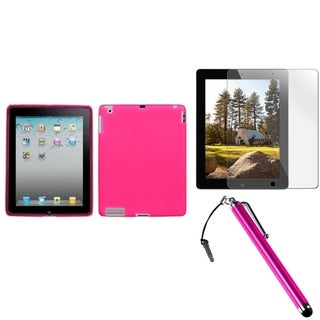 BasAcc Pink Soft Case/ Stylus/ Screen Protector for Apple iPad 2/ 3/ 4