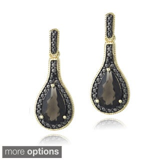Glitzy Rocks Silver or Gold Overlay Smoky Topaz Black Diamond Accent Earrings