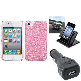 BasAcc Car Charger/ Dashboard Holder/ Pink Case for Apple iPhone 4/ 4S