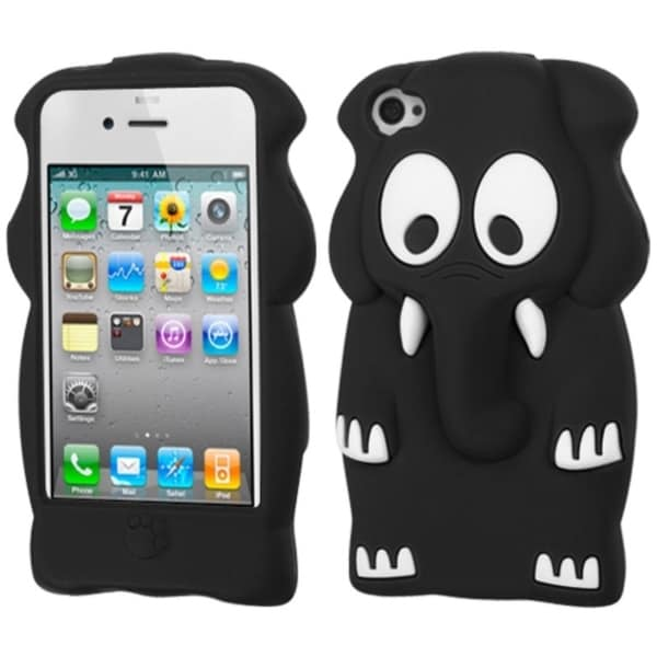 INSTEN Black Elephant Baby Pastel Skin Phone Case Cover for Apple iPhone 4/ 4S