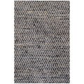 Hand-woven Black Leather/ Jute Rug (6' x 9')