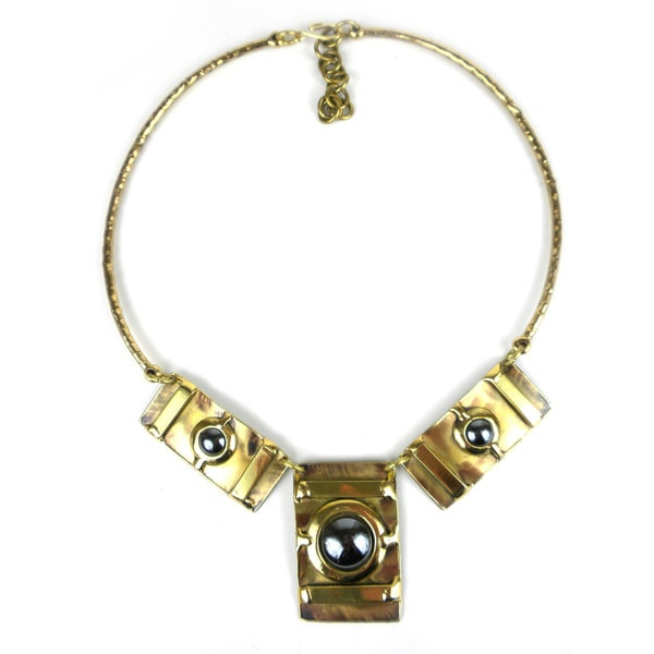 Handcrafted Between the Lines Hematite Brass Necklace (South Africa)