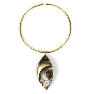 Handmade Red Tiger Eye Reflections Copper and Brass Pendant Necklace (South Africa)