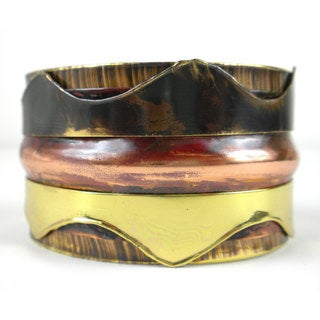 Handcrafted Triple Copper and Brass Cuff (South Africa)